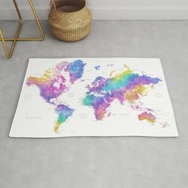 "Bright watercolor world map with cities. ""Syris"" Rug"