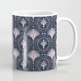 Blush Pink Art Deco Retro Pattern On Dark Blue Velvet Coffee Mug