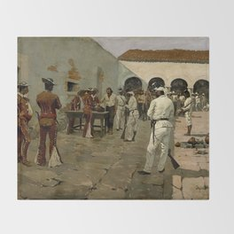 """Western Art """"Drawing of the Black Bean"""" by Frederic Remington Throw Blanket"""