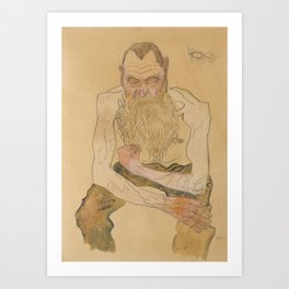 Oskar Kokoschka (1886-1990) - Sitting Bearded Man - Sitzender bärtiger Mann - Egon Schiele style Art Print