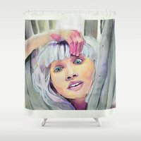 chandelier Shower Curtains featuring Chandelier Girl by Alina Rubanenko