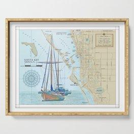 Sarasota and Siesta Key Nautical Area Map Serving Tray