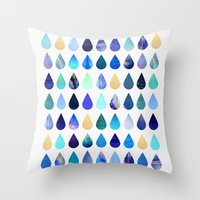 rain Throw Pillows featuring Rain by Elisabeth Fredriksson
