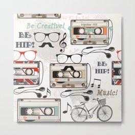 Hipster design pattern Metal Print