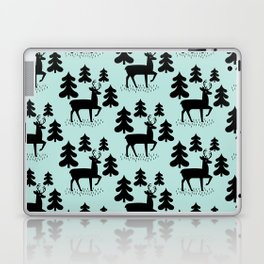 Deer In The Forest Blue Pattern Laptop & iPad Skin