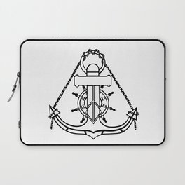 Anchor and Steering Helm [Outline] Laptop Sleeve