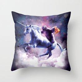 Space Sloth On Unicorn - Sloth Pizza Throw Pillow