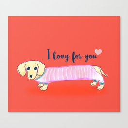 Valentine's Day dachshund dog Canvas Print