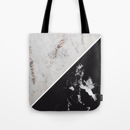 White Glitter Marble Meets Black Marble #1 #decor #art #society6 Tote Bag