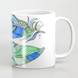 Bohemian Spirit Feathers - Blue & Green Coffee Mug
