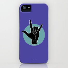 ILY - I Love You - Sign Language - Black on Green Blue 02 iPhone Case