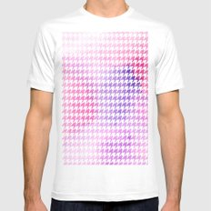 Houndstooth pink watercolor White Mens Fitted Tee MEDIUM