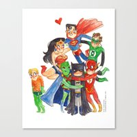 justice league Canvas Prints featuring Justice League Hug! by Super Group Hugs