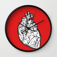 anatomical heart Wall Clocks featuring Anatomical Heart by Horse and Hare