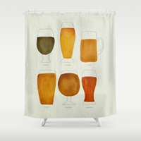 beer Shower Curtains featuring Beer by Cat Coquillette