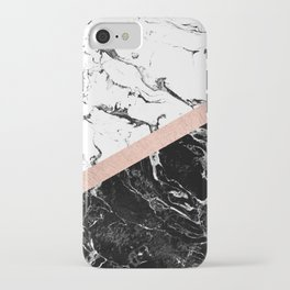 Modern black white marble color block rose gold iPhone Case