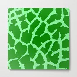 Green Giraffe Print Metal Print