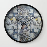 college Wall Clocks featuring COLLEGE PATTERN by AlanaHayley