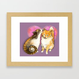 Cat licks a cat on the background of the heart Framed Art Print