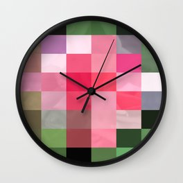 Pink Roses in Anzures 2 Abstract Rectangles 3 Wall Clock