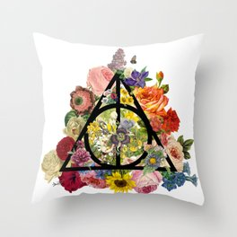 Floral Deathly Hallows - Black Throw Pillow