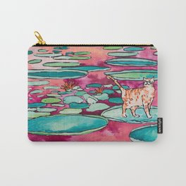 Ginger Cat amongst the Lily Pads on a Pink Lake Carry-All Pouch