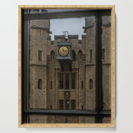 Clock on the Waterloo Block at Tower of London Home of the Crown Jewels Serving Tray