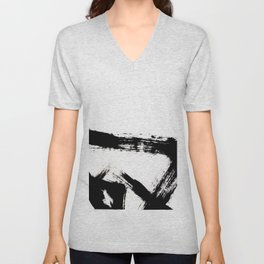 Brushstroke [8] - a simple, abstract, black and white india ink piece Unisex V-Neck