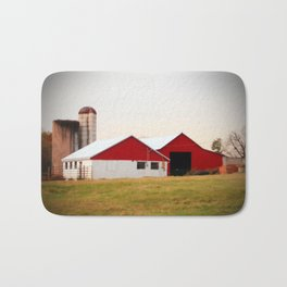 Red And White Barn Bath Mat