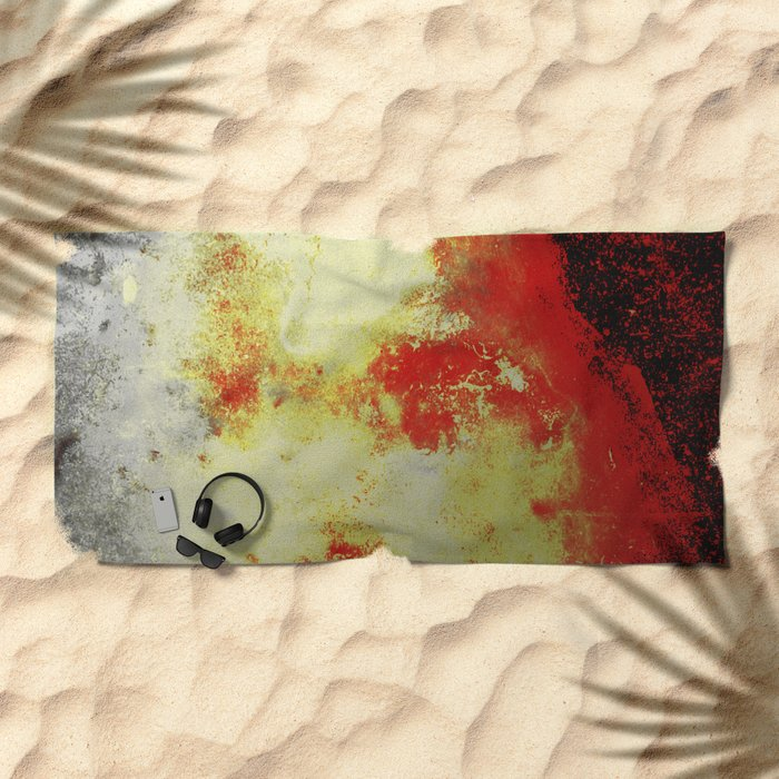 Into The Heat - Black, red, yellow and silver abstract painting Beach Towel