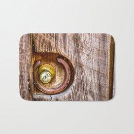 Door of a Historic Wooden Cabin. Downieville. USA Bath Mat
