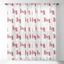 Canada Flag Waving Illustration Sheer Curtain