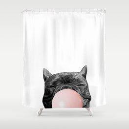 frenchie bubblegum Shower Curtain