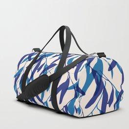 Gum leaves pattern in blue Duffle Bag