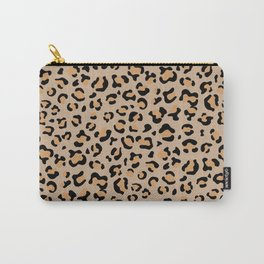 Animal Print, Spotted Leopard - Brown Black Carry-All Pouch