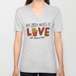 Love and French Fries Unisex V-Neck
