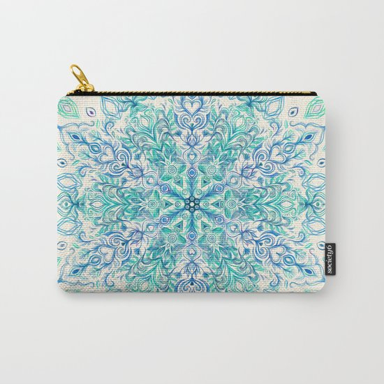 Peppermint Snowflake on Cream Carry-All Pouch