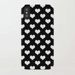 Black White Hearts Minimalist iPhone Case