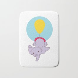 Baby Elephant Carried by Yellow Balloon Bath Mat