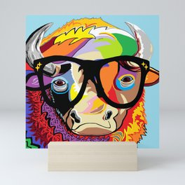 "Hipster Bison ""Buffalo"" Mini Art Print"