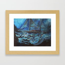 Sailing on the Neil James at night Framed Art Print