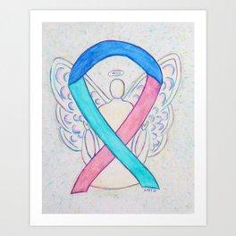 Thyroid Cancer Awareness Ribbon Angel Art Art Print