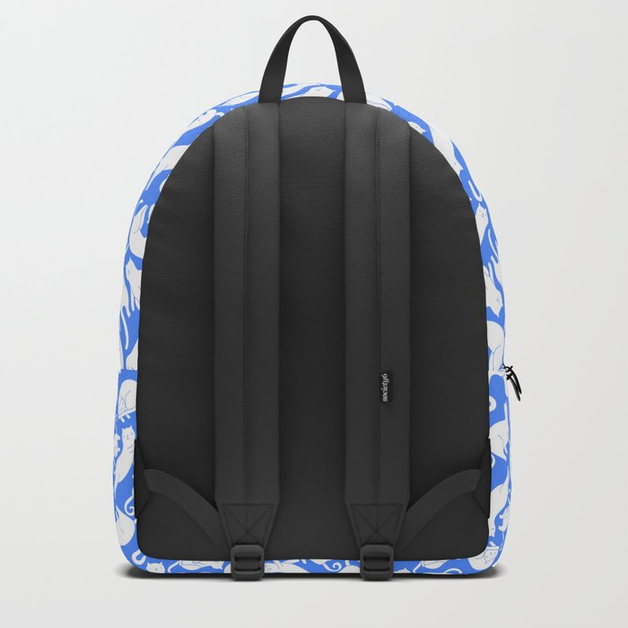 White cats on blue Backpack
