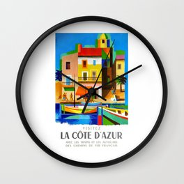 1963 Cote d'Azur French Riviera Vintage World Travel Poster Wall Clock