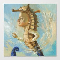 sea horse Canvas Prints featuring Sea horse by Nataliya Derevyanko