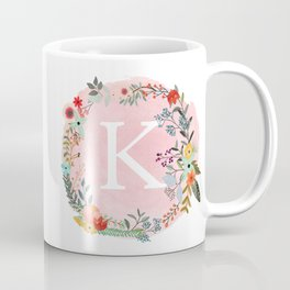 Flower Wreath with Personalized Monogram Initial Letter K on Pink Watercolor Paper Texture Artwork Coffee Mug