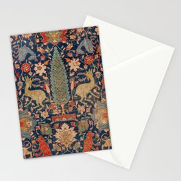 17th Century Persian Rug Print with Animals Stationery Cards