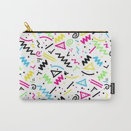 Retro 80's 90's Neon Pink Green Blue Yellow Doodle Carry-All Pouch