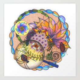 Garden Creatures Bubble Art Print