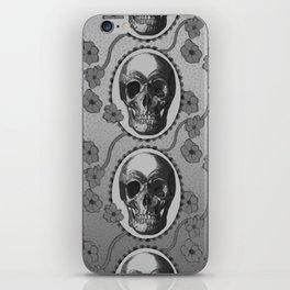 Skulls and Poppies - Antique Vintage Floral Skeleton Pattern iPhone Skin